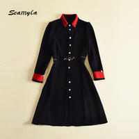 Seamyla High Quality Designer Runway Dress 2017 New Fashion Autumn Dresses Women Long Sleeve Patchwork Pearl