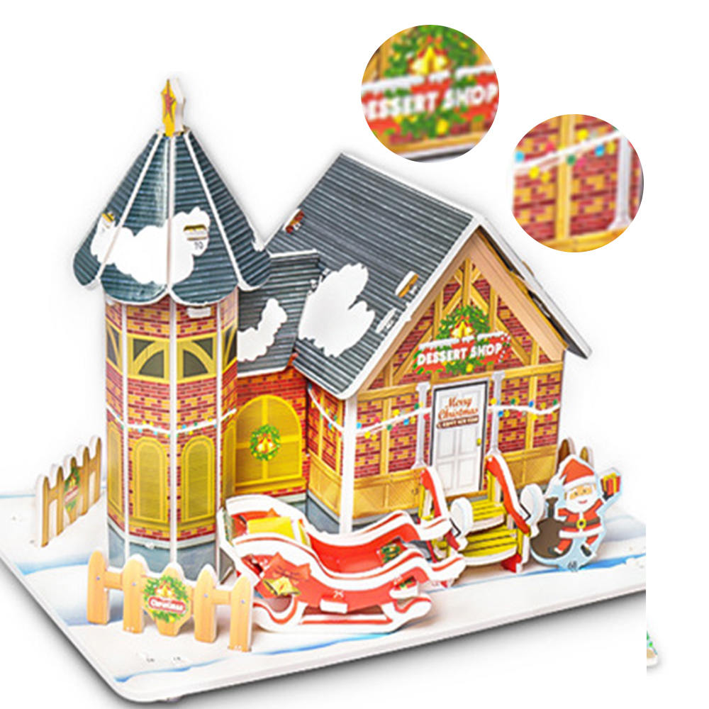 3D DIY Puzzle Plane Model Cartoon House Assembling Paper Toy Kid Early Learning Construction Pattern Gift Children House Puzzle