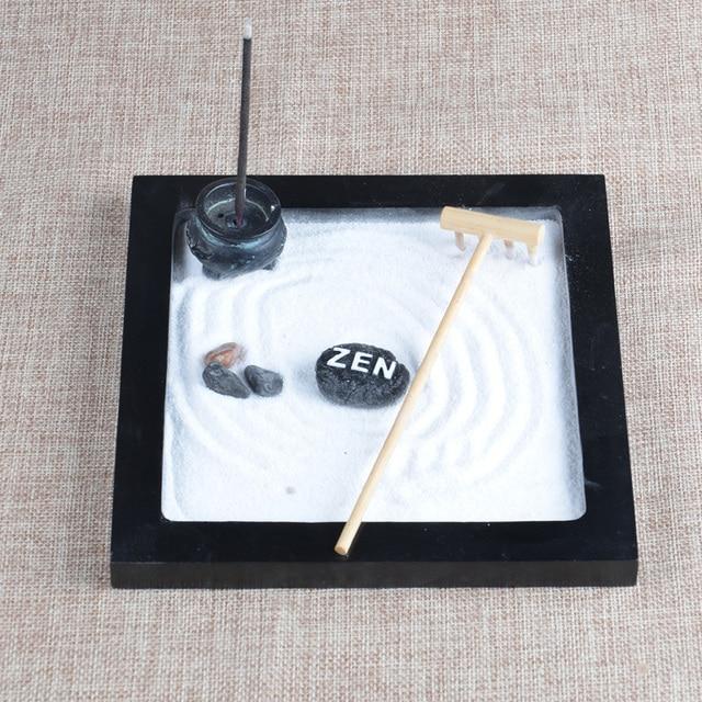 100% Hand Make Resin Figurine Craft Mini Zen Garden Wooden Sandbox Office  Ornament Home Decoration