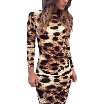 Halter dress explosive bursts leopard dresses long-sleeve sexy vestido backless package hip women clothing vestidos LBD68061 Платье