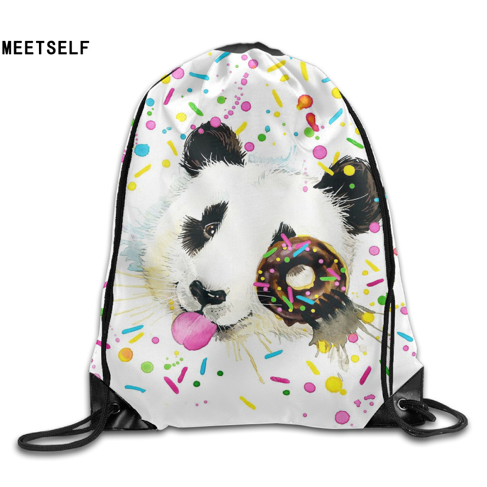 Samcustom 3d Print Donuts Panda Shoulders Bag Women Fabric Backpack Girls Beam Port Drawstring Travel Shoes Dust Storage Bags