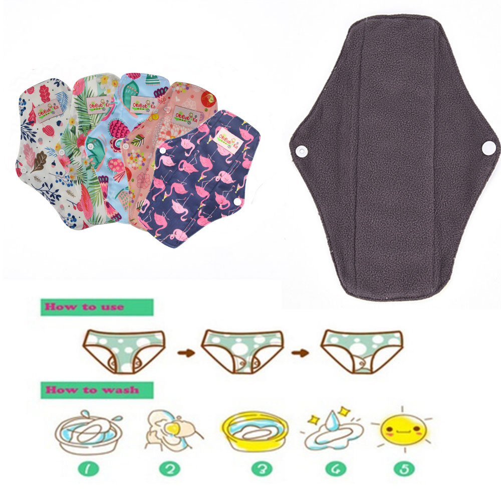 Image 5 - 5Pcs Women Menstrual Pads Reusable Sanitary Napkin Absorbent Reusable Charcoal Bamboo Menstrual Pads Washable Sanitary Towel-in Feminine Hygiene Product from Beauty & Health