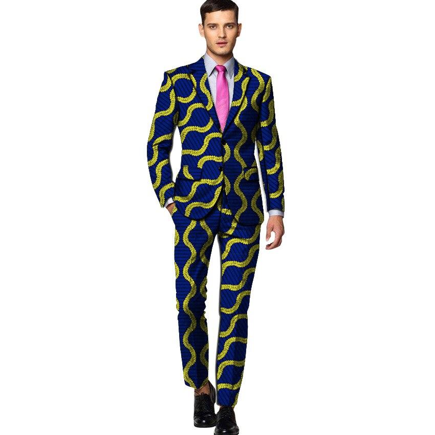 New Arrivals Men Suits Ankara Fashion Blazer And Trouser Slim Fit 2 Pieces Men Wedding Suit Jackets Plus Size Drop Shipping