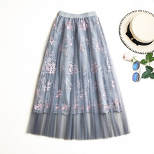 Long Mesh Skirt Pleated 2019 New Summer Sweet Fairy A-Line Skirts Floral Embroidery Tulle Midi Skirt Saias Faldas Jupe Femme цена
