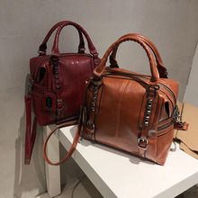 Black Wine red brown rivet artificial leather female handbags Big capacity lady single shoulder