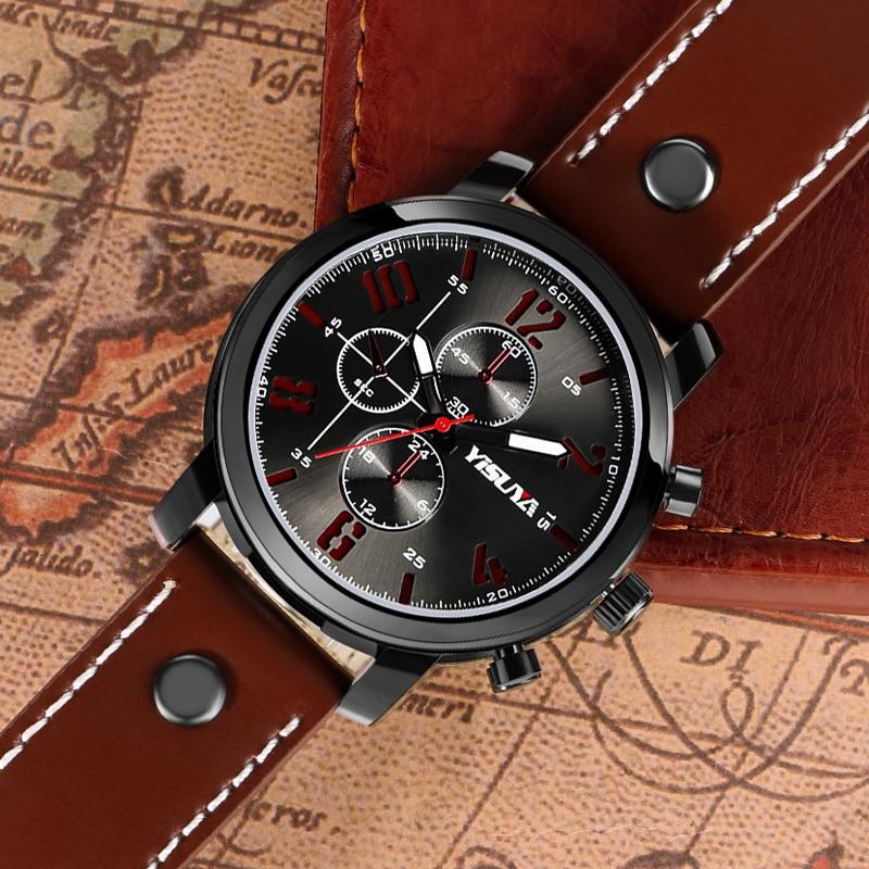 Heren Horloges Luxe Merk Lederen Mannelijke Klok YISUYA Militaire - Herenhorloges - Foto 5