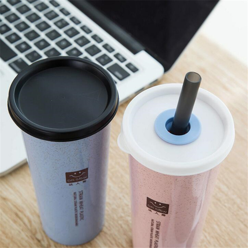 bc62e0d5b41 HOMETREE 470ml Water Cup With Straw Cola Coffee Cups Wheat Straw Plastic  Healthy Drink Bottle Multi Functional Bouble Lid H218-in Mugs from Home &  Garden on ...