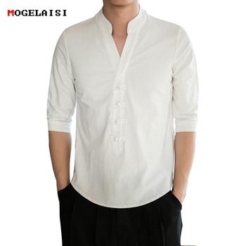 4b2db2f9e78 Китайский стиль белая рубашка мужская летняя стоячим воротником льняные и хлопковые  рубашки мужской ретро топы стоячим воротником тонкий .