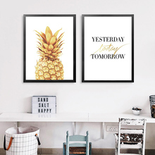Yesterday Today Tomorrow Quote Wall Decor Pineapple Painting Canvas Art Print Poster, Wall Pictures For Decoration стоимость