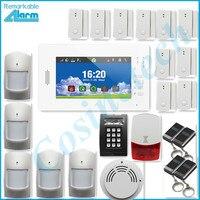 Ventas calientes avanzan 7 pulgadas de pantalla táctil de 868 MHZ sistema de alarma GSM seguridad para el hogar sistema de alarma con batería de litio, sirena del estroboscópico