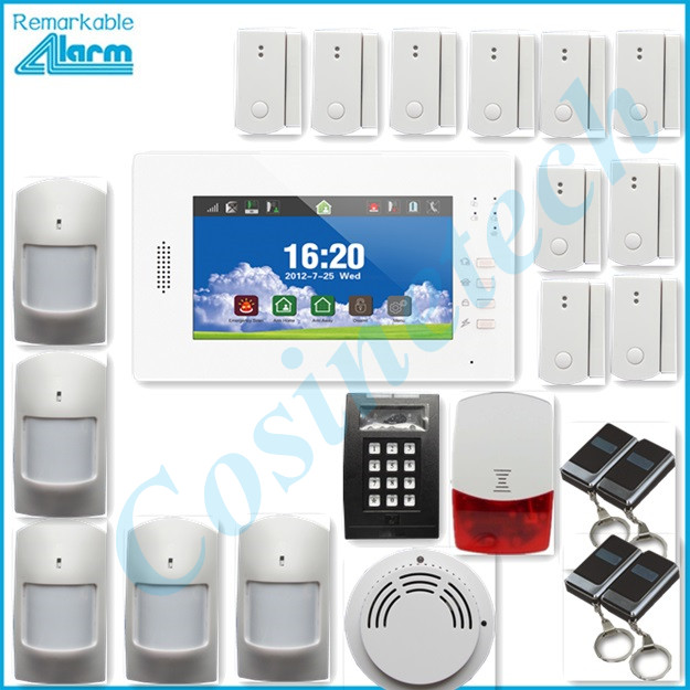 hot sales advanced 7 inch touch screen 868MHZ GSM alarm system home security alarm system with lithium battery,strobe siren 868mhz wireless gsm alarm system 7 inch touch screen home alarm with bulit in lithium battery with wireless outdoor solar siren