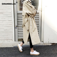 Spring Autumn New Women's Casual Trench Coat Oversize Double Breasted Vintage Ou