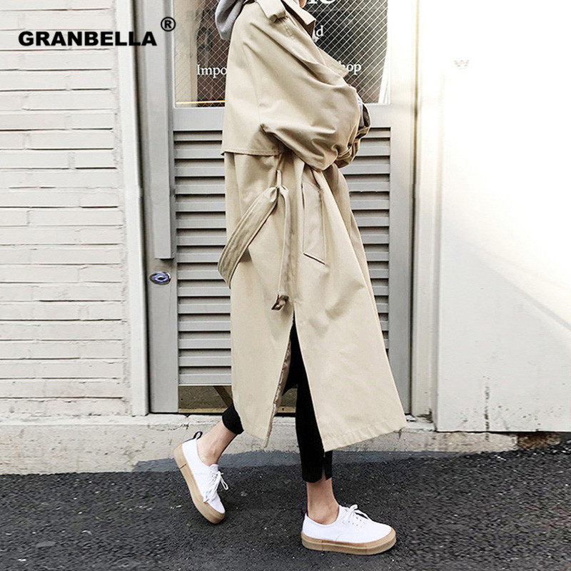 Spring Fall New Women's Casual Cotton Trench Coat Oversize Double Breasted Vintage Outwear Sashes Chic Cloak Female Windbreaker