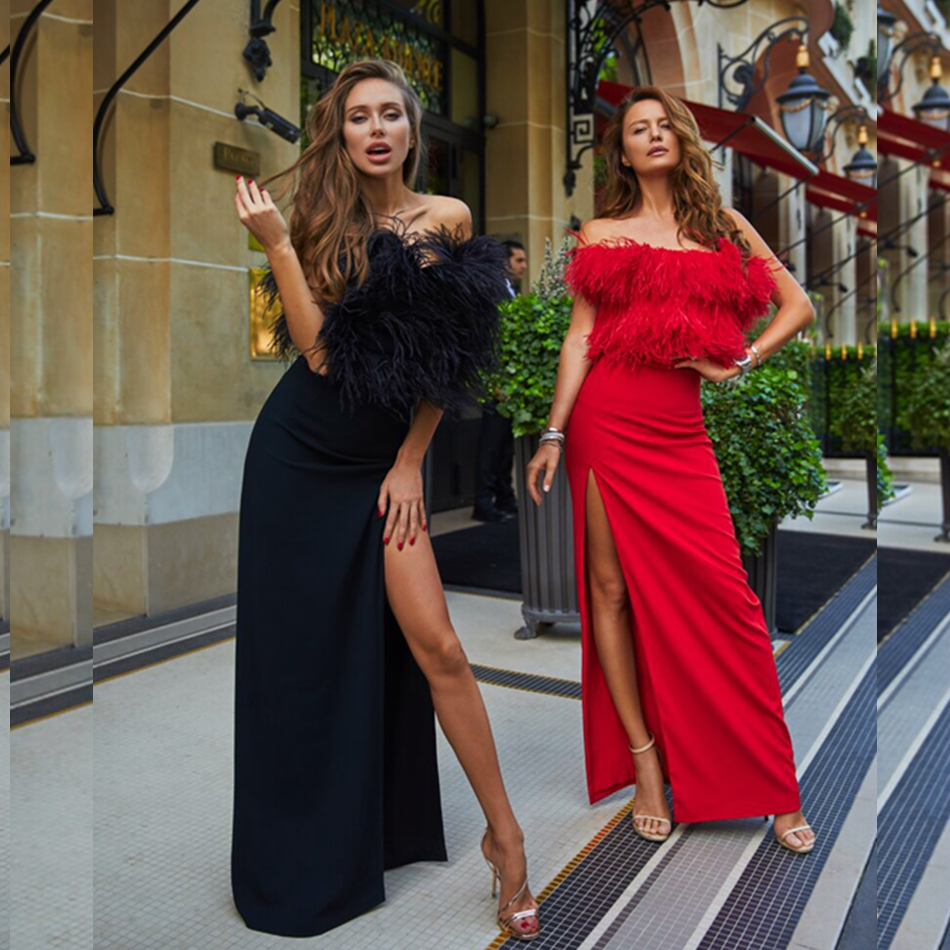 2018 패션 여성 레드 balck 솔리드 짧은 소매 깃털 긴 분할 맥시 붕대 드레스 유명 인사 vestidos 슬래시 목 backless-에서드레스부터 여성 의류 의  그룹 1