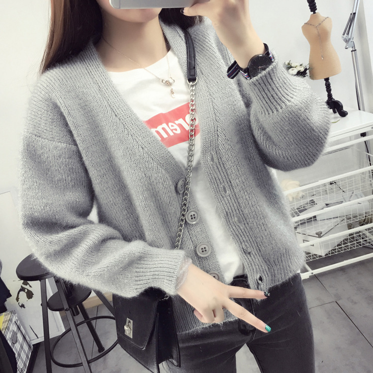 d272a3b635 Aliexpress.com   Buy Women Cardigans Mohair Knitting Sweaters Woman 2018 New  Fashion V neck Loose Korean Style Jackets Female Short Standard Clothes  from ...