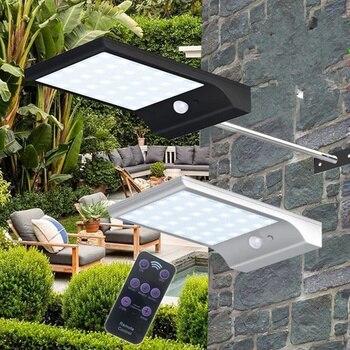 Nieuwe solar afstandsbediening infrarood afstandsbediening dimmen straat licht PIR motion sensor licht 48LED tuin outdoor waterdichte wandlamp