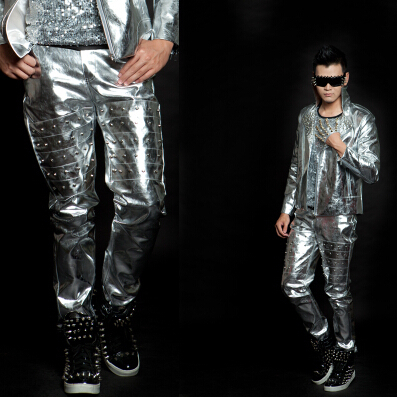 cad6571179 New style Bar silver rivet long pants for male singers on stage costumes  nightclub men s fashion ds bottom leader show clothing