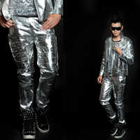 New style Bar silver rivet long pants for male singers on stage costumes nightclub men's fashion ds bottom leader show clothing