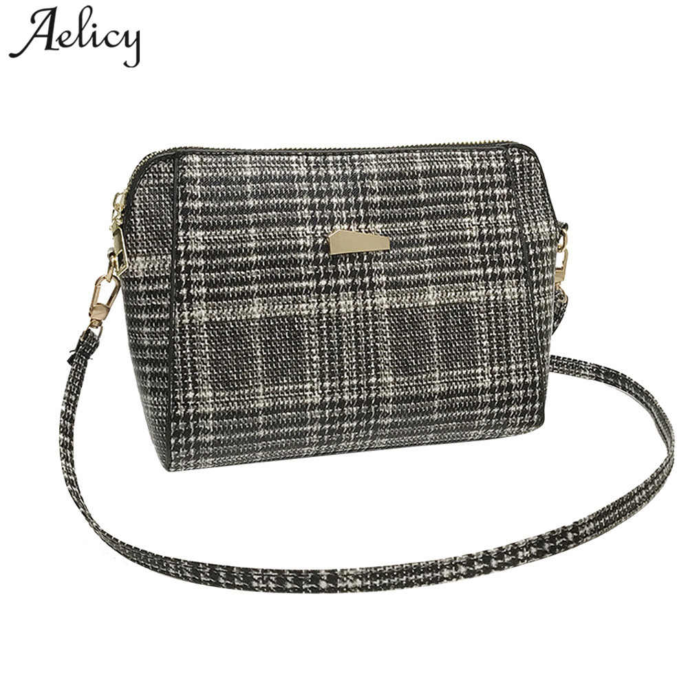 Aelicy luxury high quality women leather wool bag shell bag wool woman  designer bags plaid messenger 90dfe304bcadd