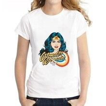 Plus Size Summer Cool Superhero Movie Wonder Woman Modal Womens O-neck Short Sleeve Leisure fashion Cotton White T-Shirt