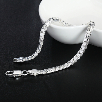 Beautiful Elegant wedding women men silver color 5MM Snake Bracelet high quality fashion classic jewelry H199 gift wholesale 1
