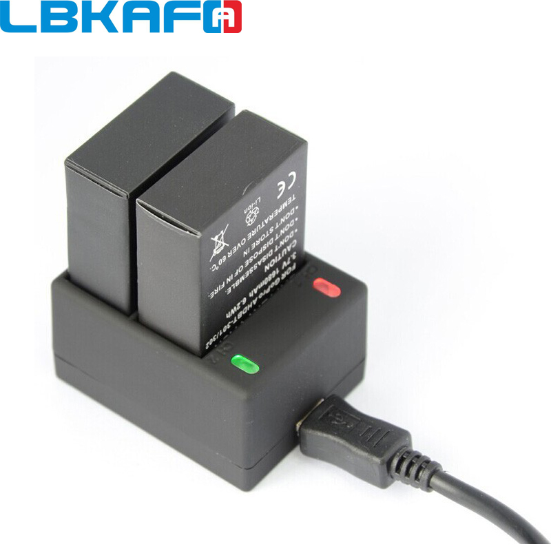 LBKAFA For Gopro Battery Charger AHDBT-301 302 Dual <font><b>2</b></font> Battery <font><b>USB</b></font> Charger For Gopro Go Pro Hero <font><b>3</b></font> Hero3 Accessories image