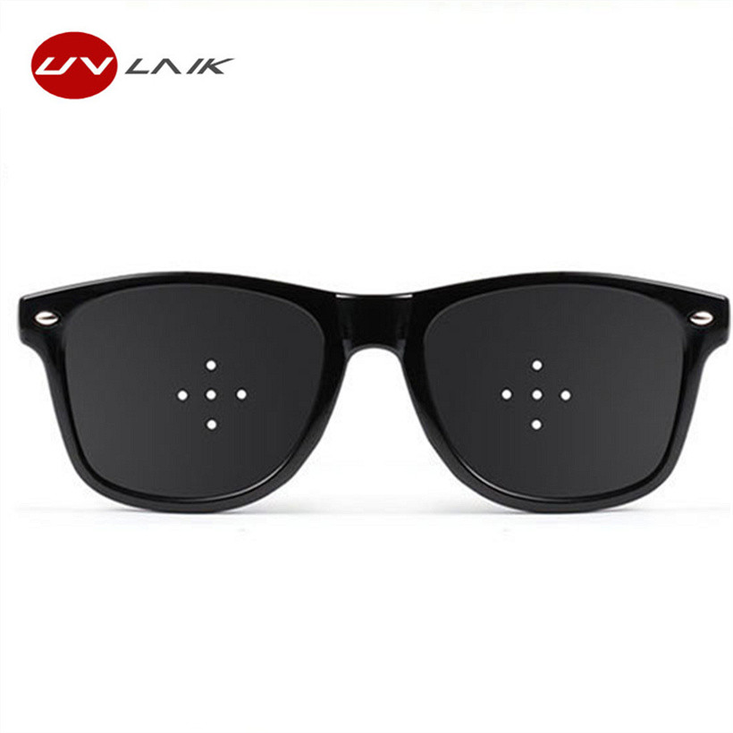 UVLAIK Anti Myopia Pinhole Glasses Pin Hole Sunglasses Men