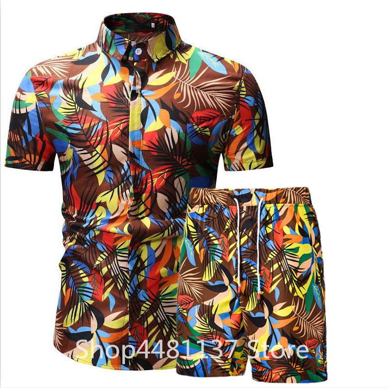 CW 2019 Summer Floral Print Shorts Short Sleeve Shirts Casual Men Clothing Sets