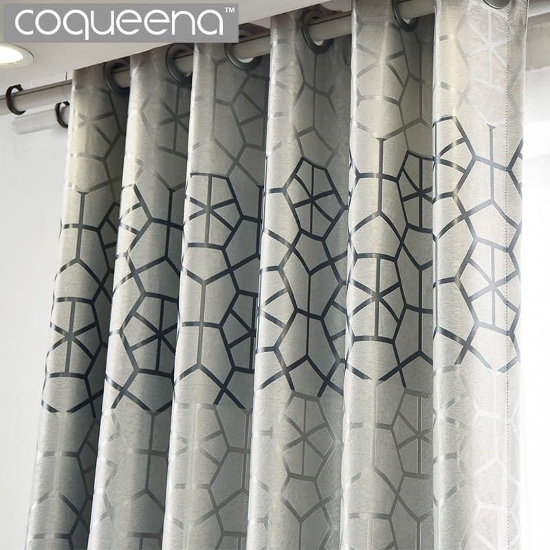 Modern Thick Suede Geometric Curtains For Living Room Bedroom Custom Ready Made Window Curtain Drapes Grey