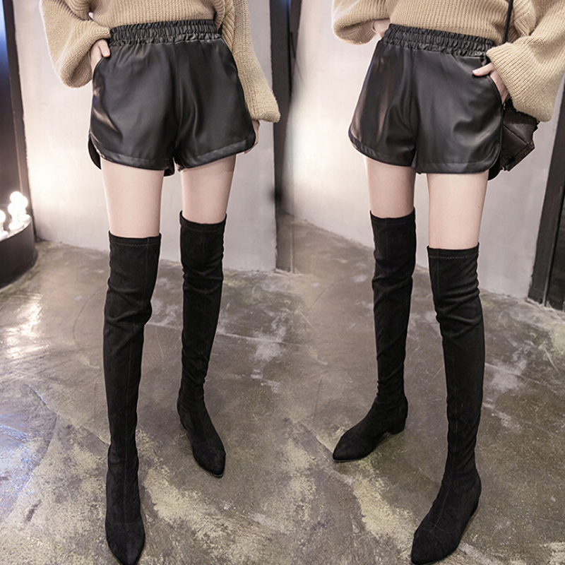 Black PU Leather Shorts With Pockets Autumn Winter Fashon Women Shorts Size S-XXXL