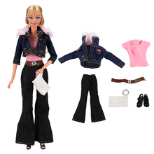 Fashion Doll Dress Daily Casual Wear Skirt Pants Vest Jeans Coat Dollhouse Accessories Outfit Clothes for Barbie
