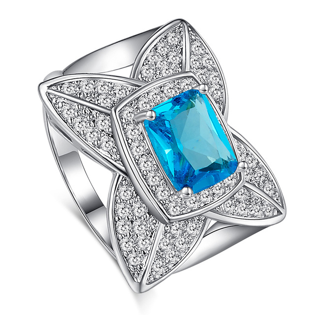 Jrose Art Deco Jewelry Vintage Party Rings For Women London Blue Topaz White Cz Diamond 18k