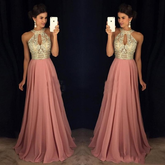 Long Formal Dresses Crystals Vestido Largo A Line Prom Gown Dusty