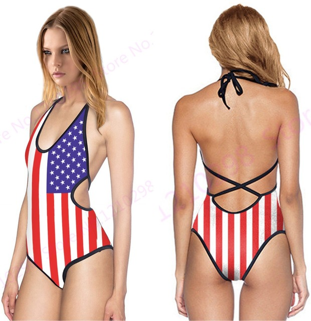8994936194b00 Retro USA Flag Swimsuit Blue Stars And Red Stripes One Piece Vintage American  Flag Halter Bandage One-piece Swimwear Cut-out