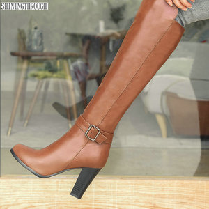 Image 2 - 2020 fashion high heels women knee high boots pu leather office ladies dress shoes spring autumn boots woman big size 34 43