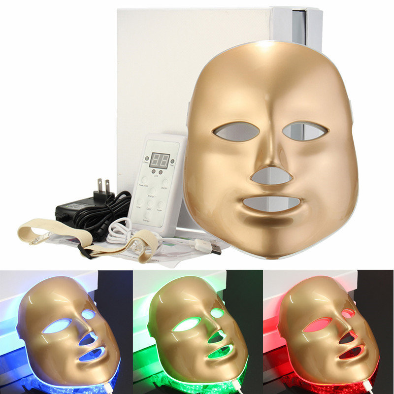 White or Gold 3/7 Colors PDT Photon LED Facial Mask Skin Rejuvenation Wrinkle Removal Electric Anti-Aging LED Mask For Beauty