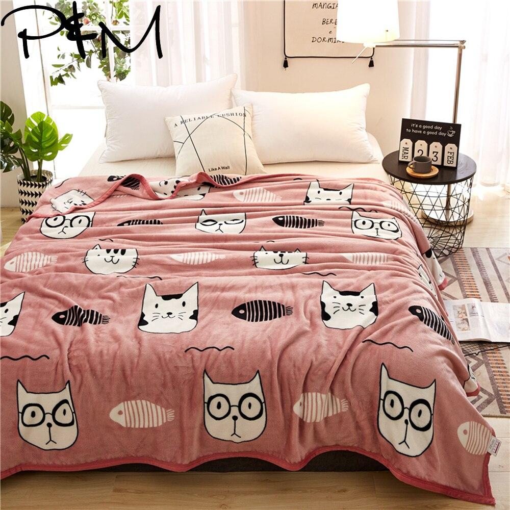Papa&Mima Cat And Fish Bones Print Summer Throw Blankets Coral Fleece Plaids Multisize Bedsheet Multifunctional Bedspread