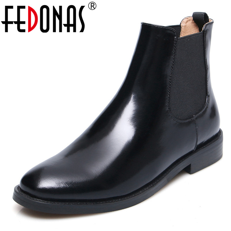 FEDONAS New Basic Boots Women Thick Heels Genuine Leather Short Motorcycle Boots Round Toe Slip On Autumn Winter Ladies ShoesFEDONAS New Basic Boots Women Thick Heels Genuine Leather Short Motorcycle Boots Round Toe Slip On Autumn Winter Ladies Shoes