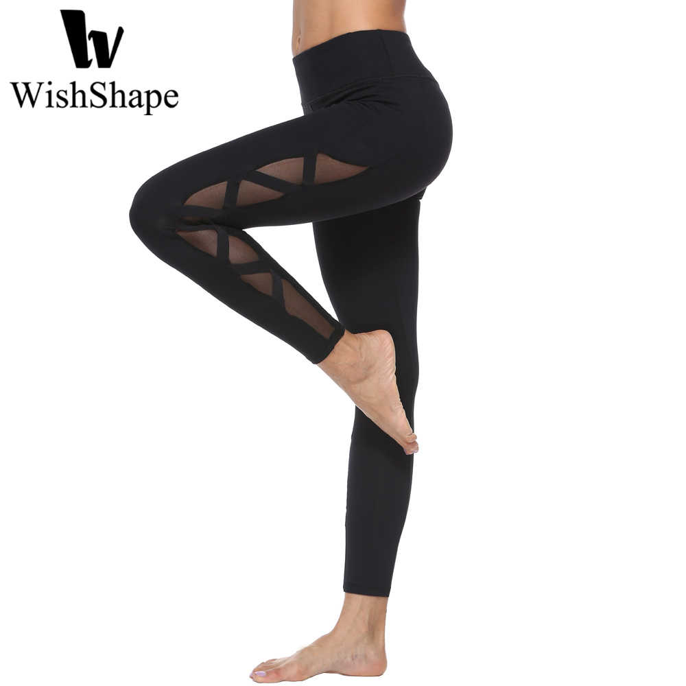5f50b36cd1 Detail Feedback Questions about Sexy Mesh Yoga Pants 2018 Women Sport  Leggings Black Push Up Slim Fitness Gym Workout Leggings Sportswear Elastic  Running ...