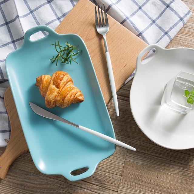 Japanese Simple Style Elegant Ceramic Ear Plate Dinner Breakfast Fruit Plate Food Tray Porcelain Home Restaurant & Japanese Simple Style Elegant Ceramic Ear Plate Dinner Breakfast ...