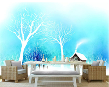 Beibehang Custom photo wallpaper Modern minimalist blue dreamy beautiful abstract woods background wall for walls 3 d