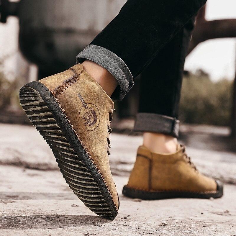 Men Snow Boots Warm Fur Plush Autumn Men Casual Shoes Khaki Quality PU Ankle Boots Men Shoes Botas hombre Plus Size 38-48 6015m 3