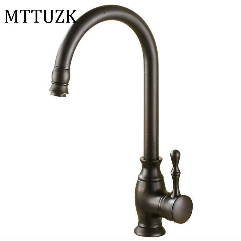 MTTUZK oil bubbed copper Kitchen faucet single handle single hole hot and cold mixer tap wash