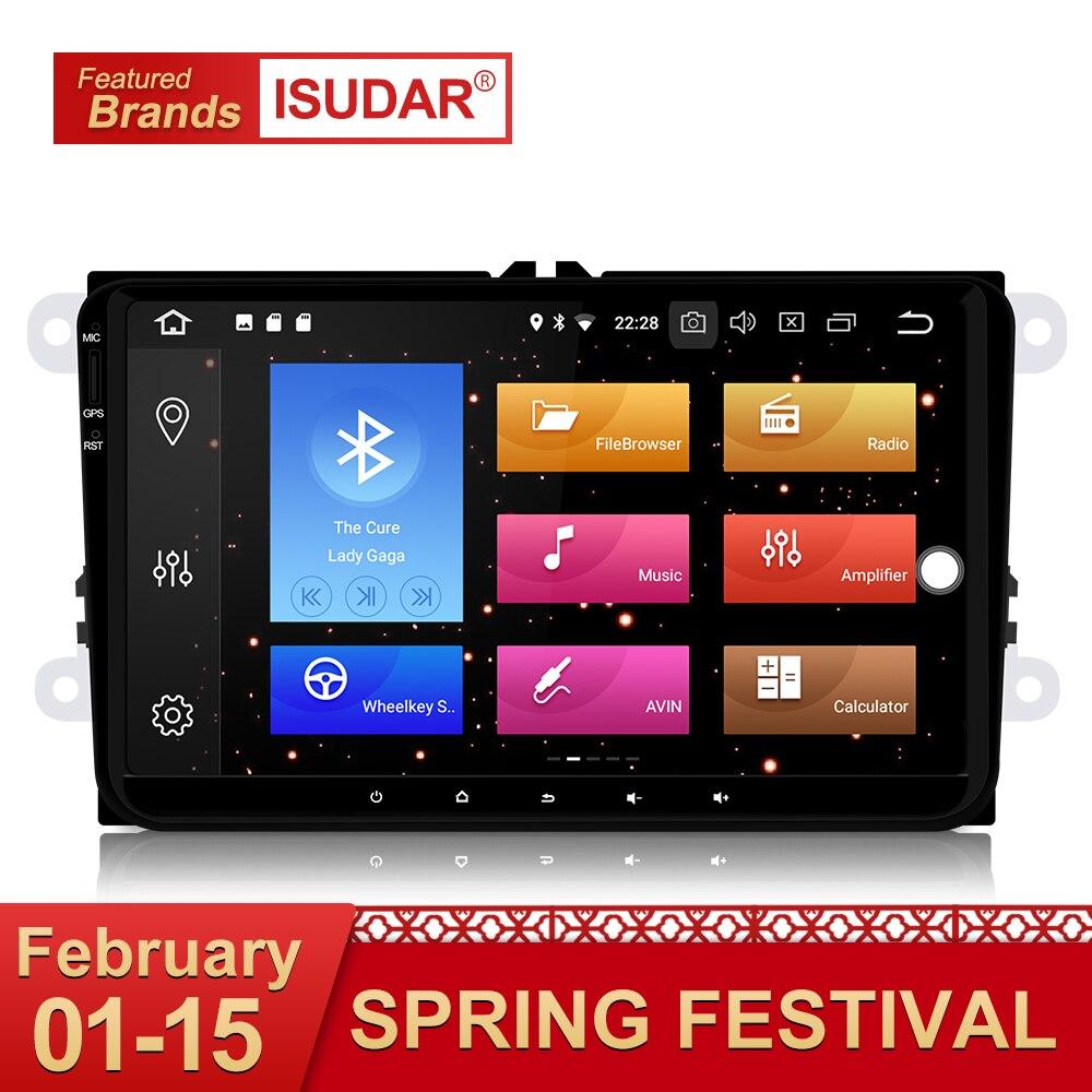 Isudar Car Multimedia Player GPS Android 8.0 Per VW/Golf/Tiguan/Skoda/Fabia/Rapid/ sedile/Leon DSP Canbus Autoradio 1 Din fm wifi