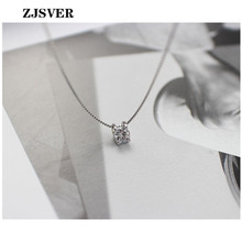 ZJSVER Fine Jewelry 925 Sterling Silver Necklace Geometric Square Zircon Pendant Simple Silver Box Chain Women Necklace For Gift new hot 925 sterling silver emerald pendant necklace clip earrings jewelry set with silver 45cm box chain fine jewelry for women