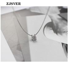 цена ZJSVER Fine Jewelry 925 Sterling Silver Necklace Geometric Square Zircon Pendant Simple Silver Box Chain Women Necklace For Gift в интернет-магазинах