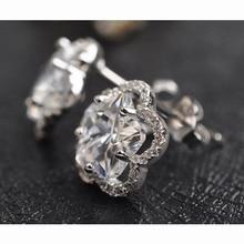 USTAR Love Flower Austria Crystals stud earrings for women Zircon Jewelry 925 Sterling Silver earrings Bijoux Top quality