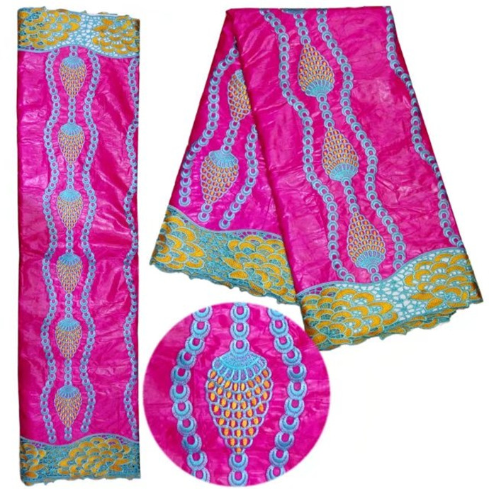 2017 Most popular Fushia Pink African Brocade Lace african Bazin riche getzner fabric with Embroidery lace for dress