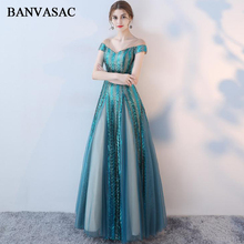 BANVASAC 2018 V Neck Illusion Lace A Line Long Evening Dresses Elegant Sequined Party Short Sleeve Prom Gowns