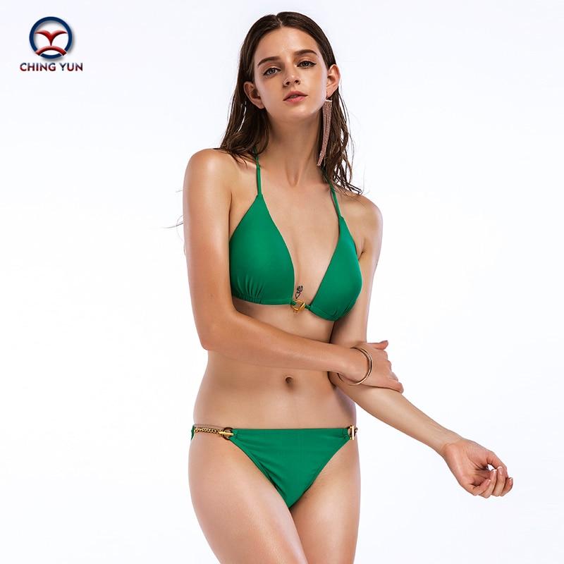 CHING YUN 2019 New Bikini Set Halter Swimsuit Solid Swimwear Sexy Bathing Suit Beach Wear Monokini Female Women Suits 18040 in Bikinis Set from Sports Entertainment